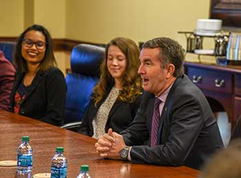 Gvernor Northam talking with students