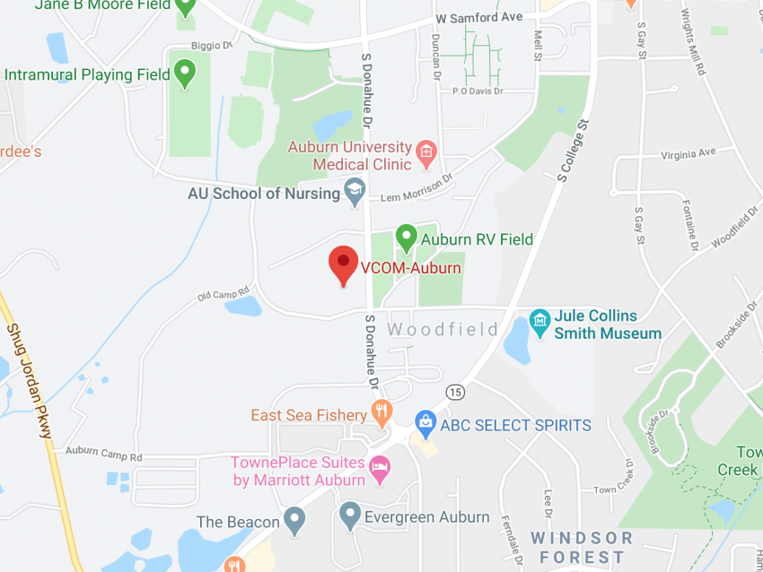 Image of a Google Map showing VCOM-Auburn location.